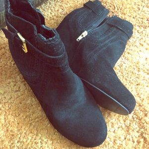 Suede Wedged Heel Ankle Boots